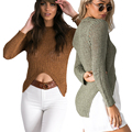 Irregular Sexy Long Sleeve Women Sweaters Autumn Bodycon Pullover Bandage Basic Knitwear Tops