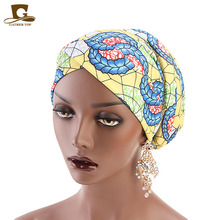 New Women Headwrap Head Wrap chemo Floral Print Muslim Turban Cotton Ladies Stretch Headband chemotherapy Bandanas