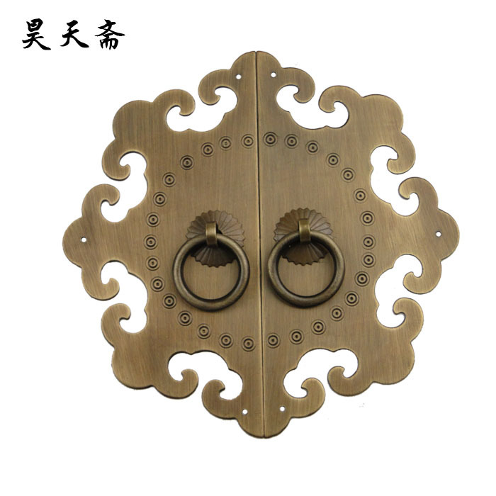 [Haotian vegetarian] Ming and Qing antique Chinese furniture, copper fittings copper antique copper handle copper live HTB-161 C [haotian vegetarian] chinese antique ming and qing furniture copper fittings copper door copper handle 18cm black