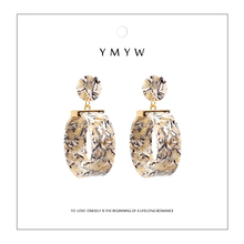 YMYW Trendy Brand Za Bohemia Acrylic Brincos Big Round Hollow Punk Statement Dangle Earrings for Women Party Jewelry Gift 2019