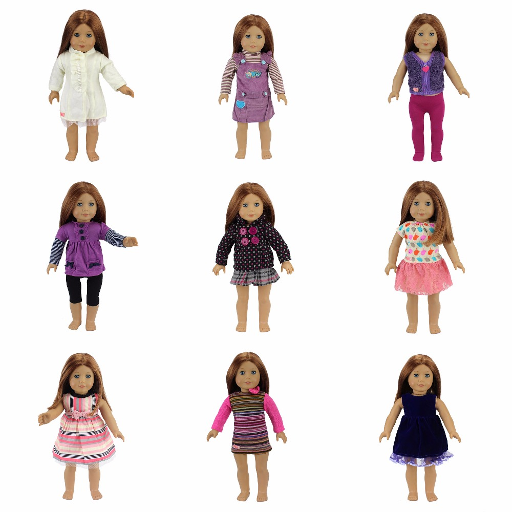 New Arrival Fashion Suit Fit For American Girl Doll Clothes 18 Inch Doll Accessories 9 colors american girl doll dress 18 inch doll clothes and accessories dresses