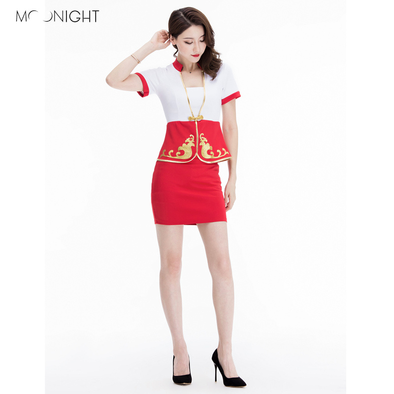 MOONIGHT Sexy Erotic Cosplay Uniform Airline Stewardess Costume Sexy Temptation Uniform Top With Skirt For Adults S-3XL