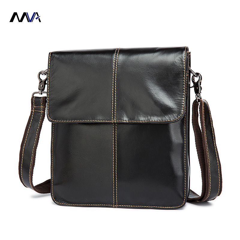 MVA Genuine Leather Men Messenger Bag Crossbody Handbag Men Business Vintage Leather Bag