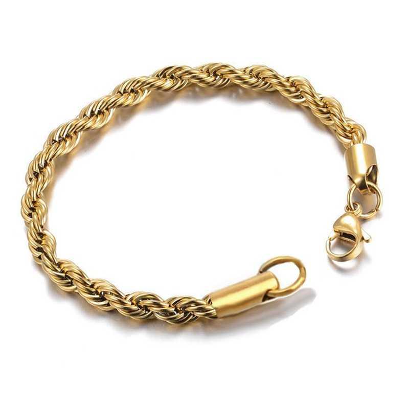 24k Gold Filled Chain สำหรับผู้ชายและผู้หญิง Twist สร้อยข้อมือเชือกโซ่คุณภาพสูง