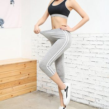 women summer large size 50 XXL slim fitted capris lady active stripe outer skinny modal short pants cool comfort stretch pant