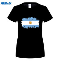 GILDAN Argentina National Flag T Shirts Short T Shirts Nostalgic Style Star Players Maradona Messi Fans
