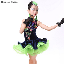 2016 Latin Dance Skirt Girls 3pcs(Dress&Headwear&Gloves) Children Dance Costumes Kids Dance Costumes For Competition Samba Dress