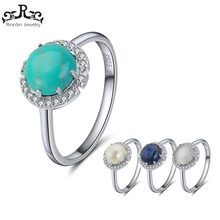 Effie Queen Women Rings 100% Pure Sterling Silver With 4 Colors Main Stone AAA Shiny Zircon Female Ring Party Fine Jewelry TSR55(China)