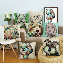 2019 New Fashion Throw Pillow Case Cute Dog Print Cotton Linen Cover Square Home Textile
