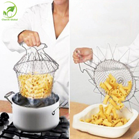 2016 Cooking Tools Strain Folding Basket Strainer Steam Rinse Chef Frying Net Home Kitchen Tool