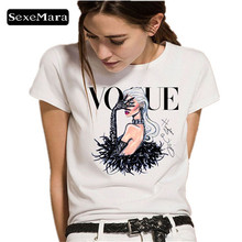 SexeMara female T-shirts VOGUE Letter Print Fashion Hot Summer Women T Shirt Causal Cotton Short Sleeve