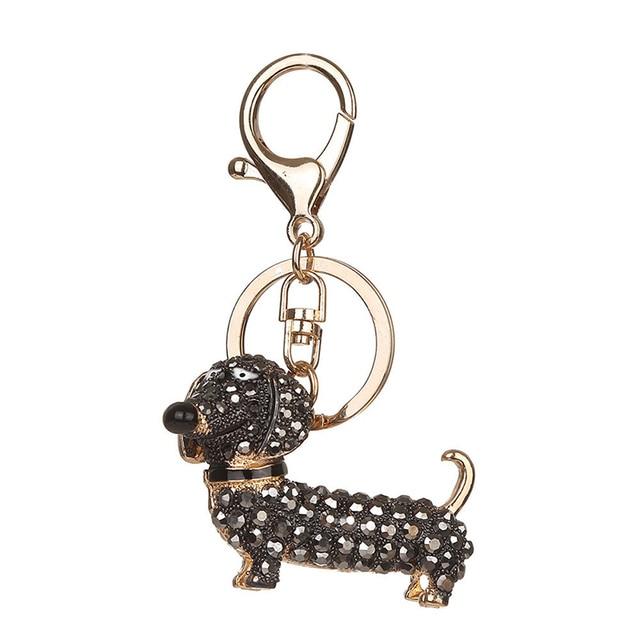 Fashion Rhinestone Dog Dachshund Keychain Bag Charm Pendant Keys Holder Keyring Jewelry For Women Girl Gift CX17