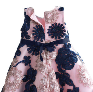 Image 4 - Ribbon Flowers Kids Dresses for Girls Princess Pink Lining Clothes Baby Children Costume for Kids Size 3 8T