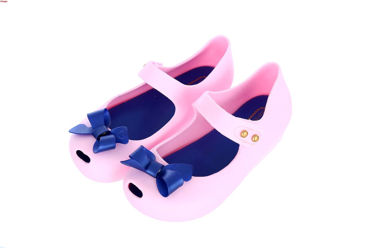 hot2018 Mini Melissa New Summer Kid Shoes Girl Sandals Size Bow Jelly Shoes Soft PVC Flat Heels Children Autumn Fashion Shoes