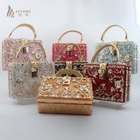 New Luxury Brand Women Shoulder Crossbody Bag Evening Clutch Bags Crystal Purse Diamond Studded Lock Metal Flower Handbag Wallet