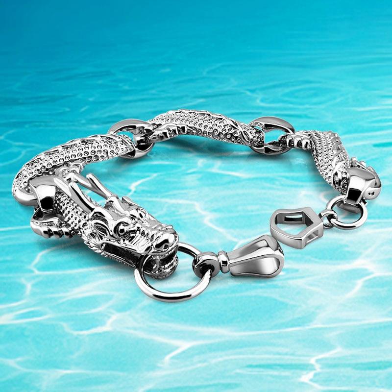 New arrival!!! ethnic wind dragon charm men's silver bracelet ,925 Thai silver dragon bracelet for men jewelry accessories