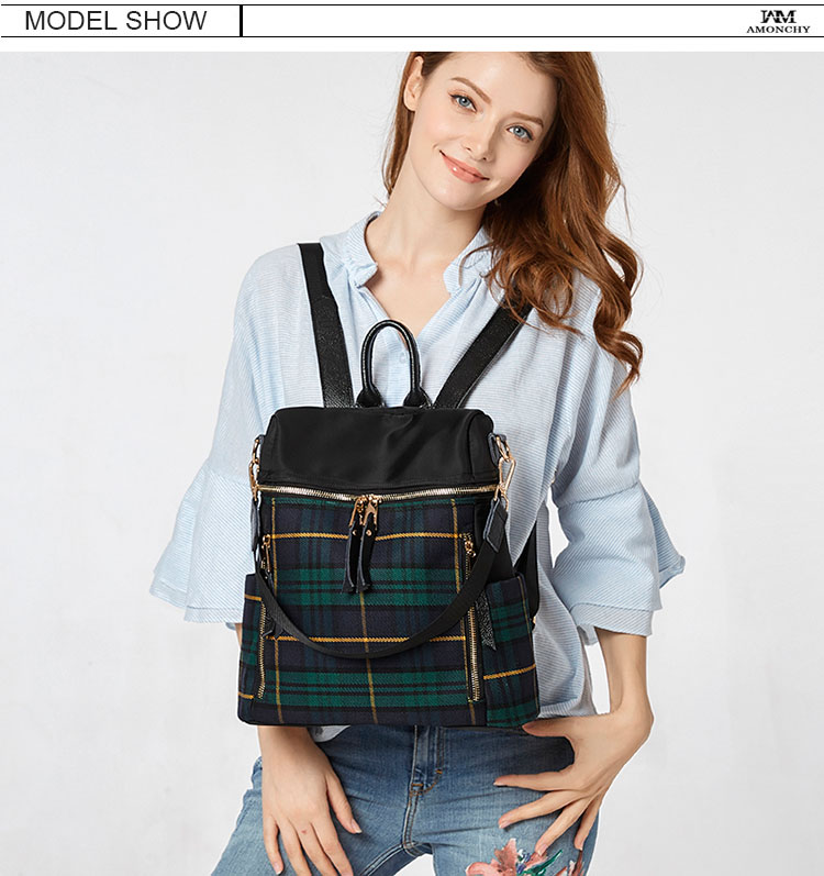 plaid women backpacks genuine leather travel backpack for lady brand shoulder bags (15)