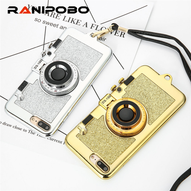 promo code 6906d 6a2a0 US $3.57 15% OFF|Luxury Vintage 3D Glitter Camera Mirror Rose Gold Phone  Case For iPhone 7 7 Plus 6 6s Plus with Lanyard Soft Back Cover Fundas-in  ...