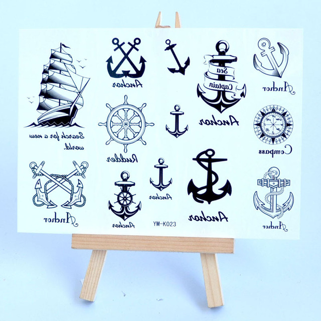 8b450f8a2713b Sailing Ship Waterproof Temporary tattoo sticker for men and woman  personality anchored flash tattoo sleeves tatoo