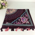 Bufanda de Las Mujeres de la mezcla Del Diseño Floral de Bohemia Chales Hijab Musulmán de Viscosa de Algodón Largas Borlas Bufanda