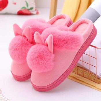 Cartoon Women Home Slippers Rabbit Ears Slip On Soft Soled Winter Warm House Shoes Women Indoor Outdoor Fur Slippers Footwear 5