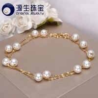 [YS] 18 K Oro 5-5.5mm Blanco Collar de Perlas de Joyería Collar de Perlas de Agua Dulce de China