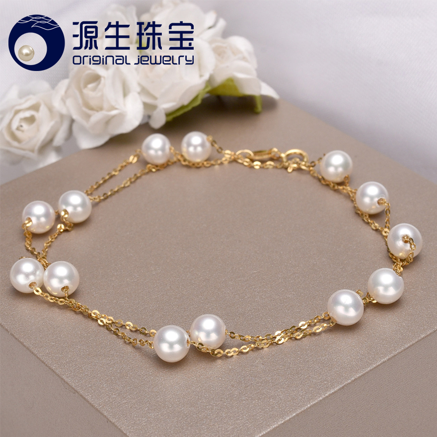 [YS] 18K Gold 5-5.5mm White Pearl Necklace China Freshwater Pearl Necklace Jewelry цены онлайн