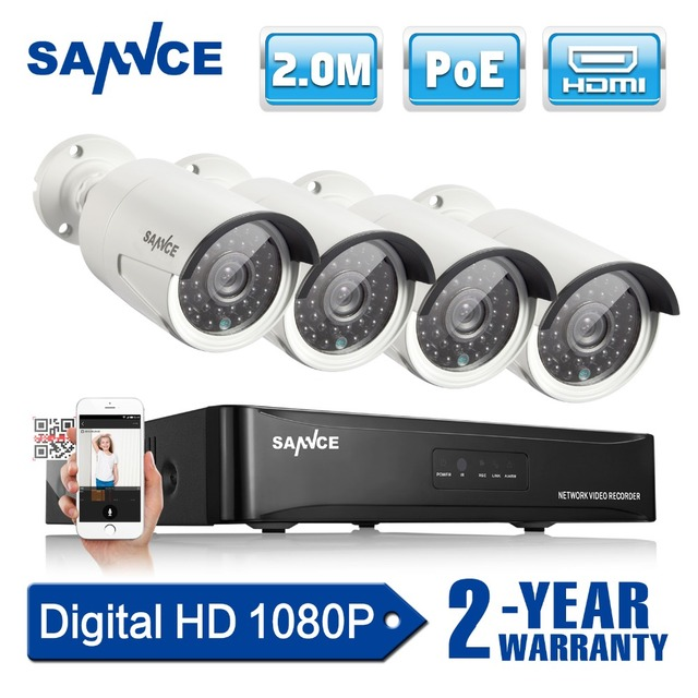 SANNCE 4CH 1080P Network POE NVR Kit CCTV Security System 2.0MP IP ...