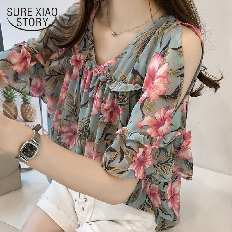 2018 New Fashion Sweet Style Women Clothing Printed Casual Plus Size Women Tops Short Sleeved Blouses Loose Women Shirts 0615 40