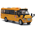 1:32 Scale Big Size America School Bus Diecast Metal Car Pull Back Autos a Escala Boys Collection Flashing Model Cars Toys