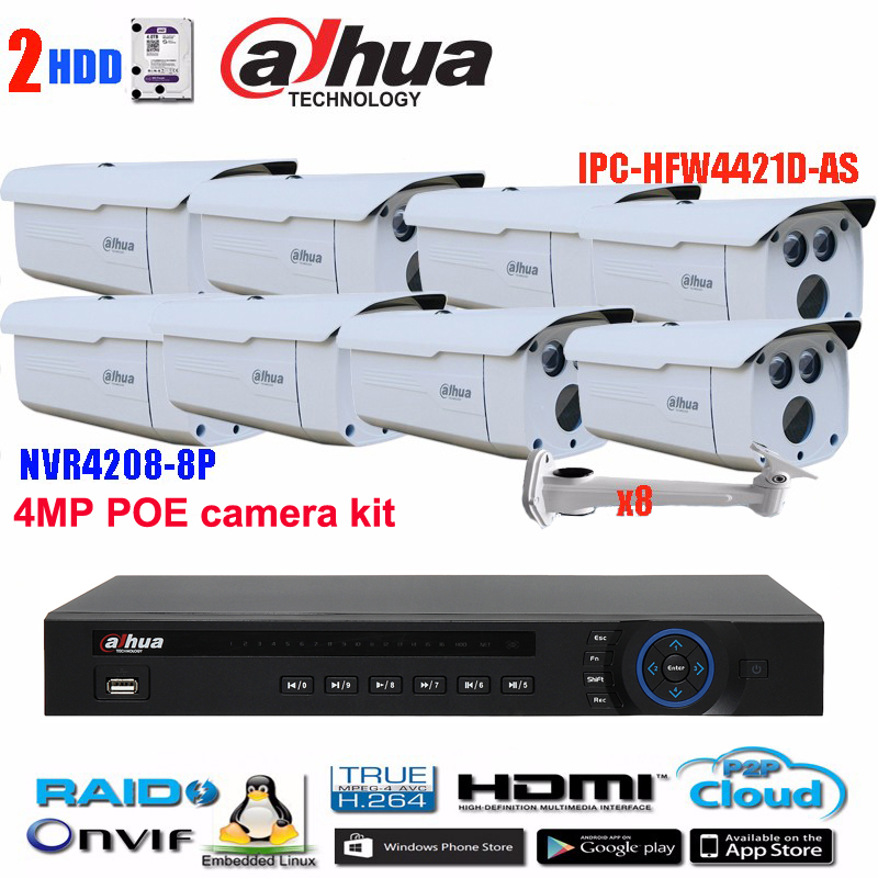Original  dahua 8PoE NVR Network Video Recorder NVR4208-8P with 4MP Network Bullet POE IP Camera IPC-HFW4421D-AS HFW4421D-AS free shipping 2016 new cctv dahua nvr 16ch 8 poe network video recorder nvr4216 8p 4ch alarm in and 2ch relay out support onvif