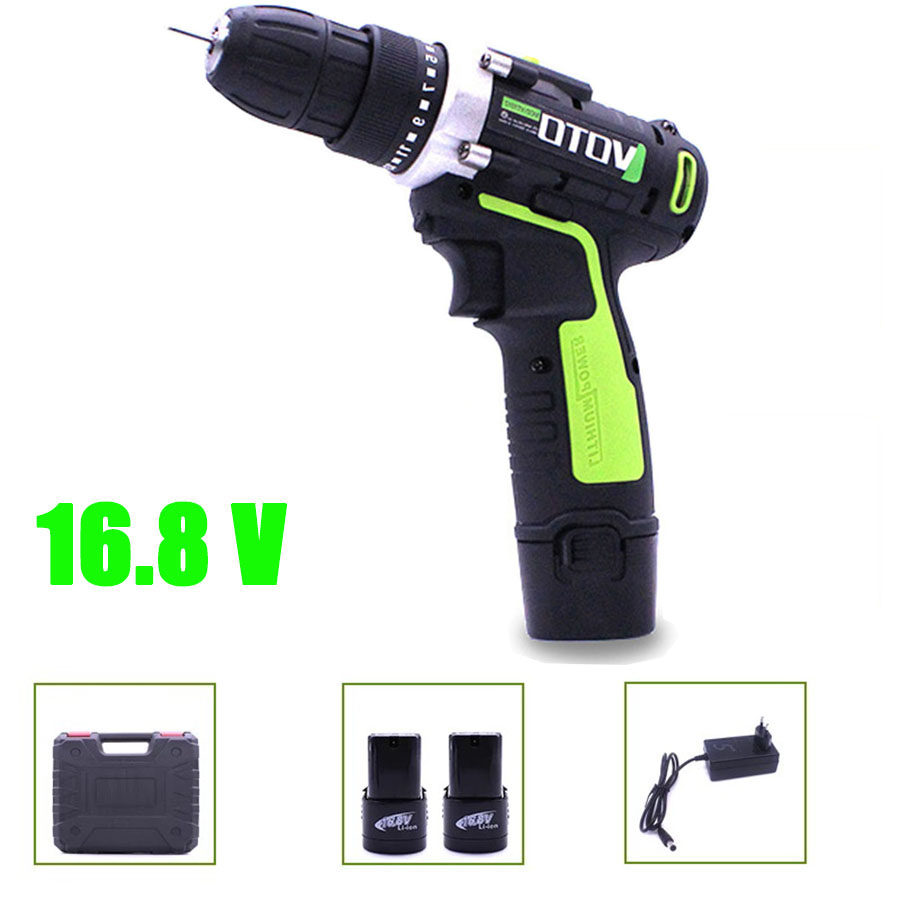 VOTO 16.8V 2*Battery Rechargeable Cordless Drill Electric Screwdriver Set Lithium Power Tools Screw Gun Driver Case Green VT цены онлайн