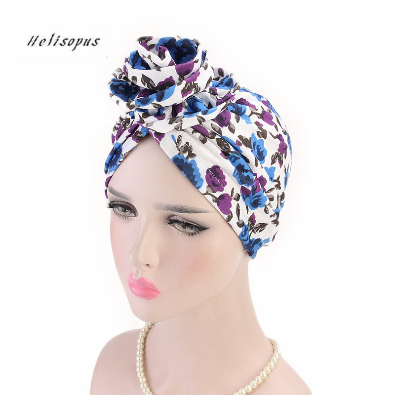 Helisopus Fahsion New Women's Cotton Turban Elegant Floral Print Chemo Cancer Cap Ladies Hair Accessories Bandanas   Headwear