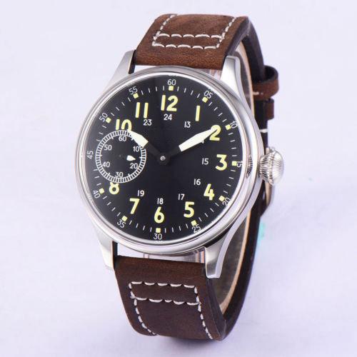 Vintage 44mm Corgeut black sterile dial luminous 17 jewels Asian 6497 Mechanical Hand Winding movement men