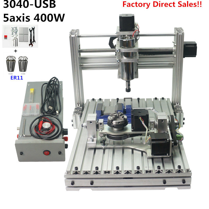 CNC Engraver Milling Machine DIY 3040 PCB Carving Wood Engraving Mach3 USB Port With ER11 CNC 4030 Woodworking Wood Routers(China)