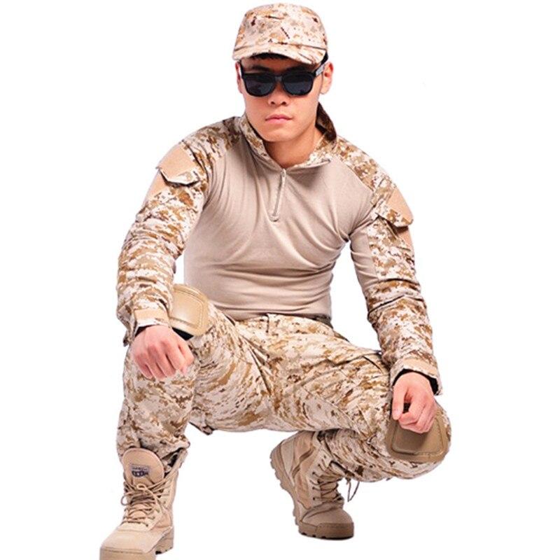 Tactique airsoft militaire vêtements camouflage costume chasse combat militaire uniforme à manches longues avec genouillères coudières armée chemise
