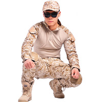 tactical airsoft military clothing camouflage suit hunting combat military uniform long sleeve with Knee elbow pads army shirt