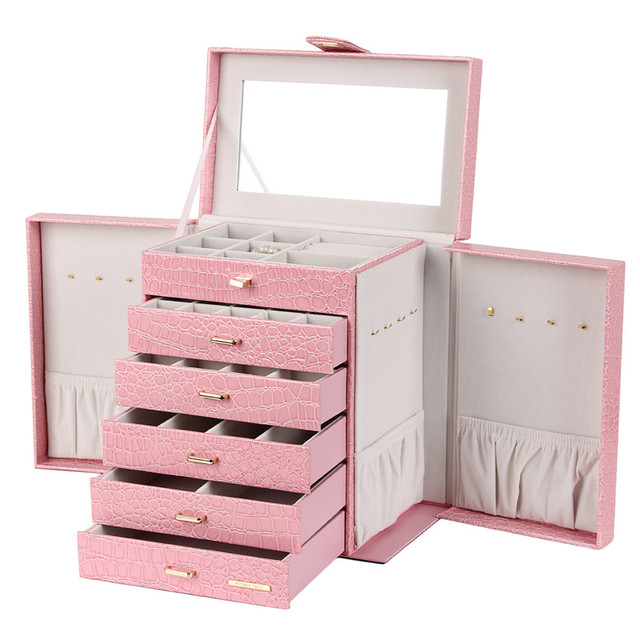 Large Jewelry Box Black, White, Pink  Leather
