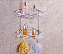 Shelf space aluminum double triangle basket bathroom corner frame with hook a tripod