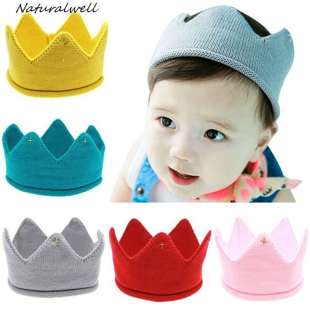 286e37a9541 Naturalwell Baby crown Headband Girls Crochet hair accessories Children hair  bands Soft Headwear Hair Band 1pc