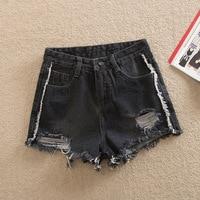 2018 Summer Style Women High Waist Denim Shorts Rip Plus Size Short Pants Black Female Big Size Ripped Jeans Shorts 38 40