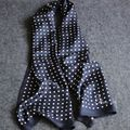 Fashion Brand Mens 100% Silk Long Scarf Cravat Scarives Layer Black Dots Spring Autumn Winter