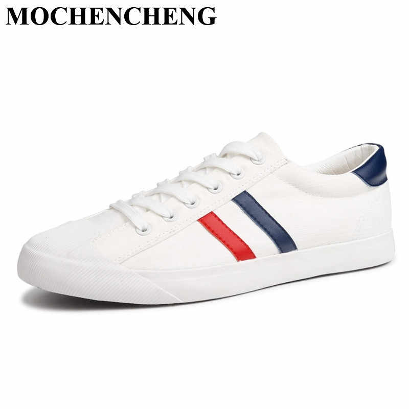 d0b4ed6a1e320 ... New Canvas Shoes Men White Sneakers Casual Flat Lace-up Adult Male  Tenis Footwear Breathable ...