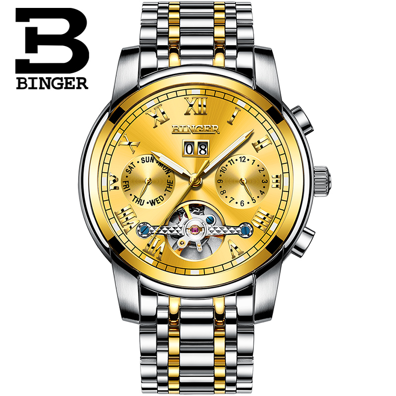 Luxury Gold นาฬิกาผู้ชายสวิตเซอร์แลนด์ BINGER Tourbillon Self wind ปฏิทินไพลินส่องสว่างอัตโนมัตินาฬิกาผู้ชาย-ใน นาฬิกาข้อมือกลไก จาก นาฬิกาข้อมือ บน   3