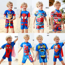 New Boys Swimming Wear Short Sleeve Cartoons Sunscreen Two Piece Swimsuit Vacation Sets Kids Swimwear for Boys(China)