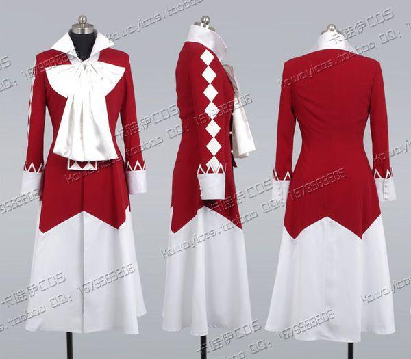 Pandora Hearts Alice Cosplay Costume Cloak + Shirt + Skirt + Bowknot
