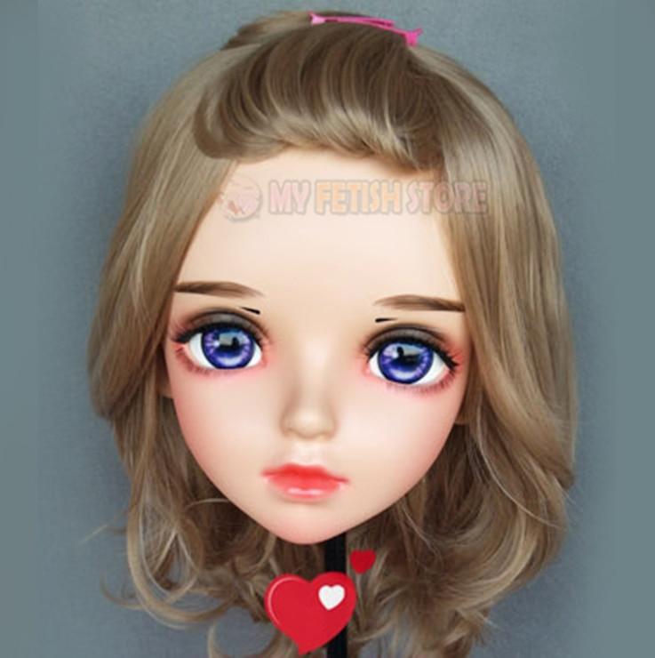 Reasonable ya-02 Gurglelove Female Sweet Girl Resin Half Head Kigurumi Bjd Mask Cosplay Japanese Anime Role Lolita Mask Crossdress Doll