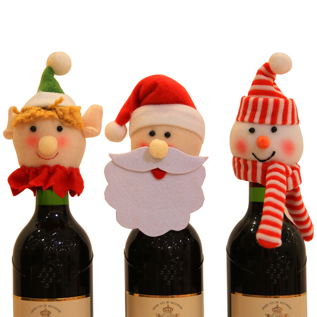 christmas wine bottle hats navidad santa xmas decorations santa claus christmas ornaments xmas bottle decorations party - Christmas Wine Bottle Decorations