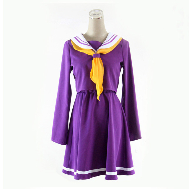 Cosplay Costumes No Game No Life Shiro Emboitement Heroine Purple Blue Sailor Suit (top+Skirt+Bow Tie+Shoulder Tape+Oversleeve)