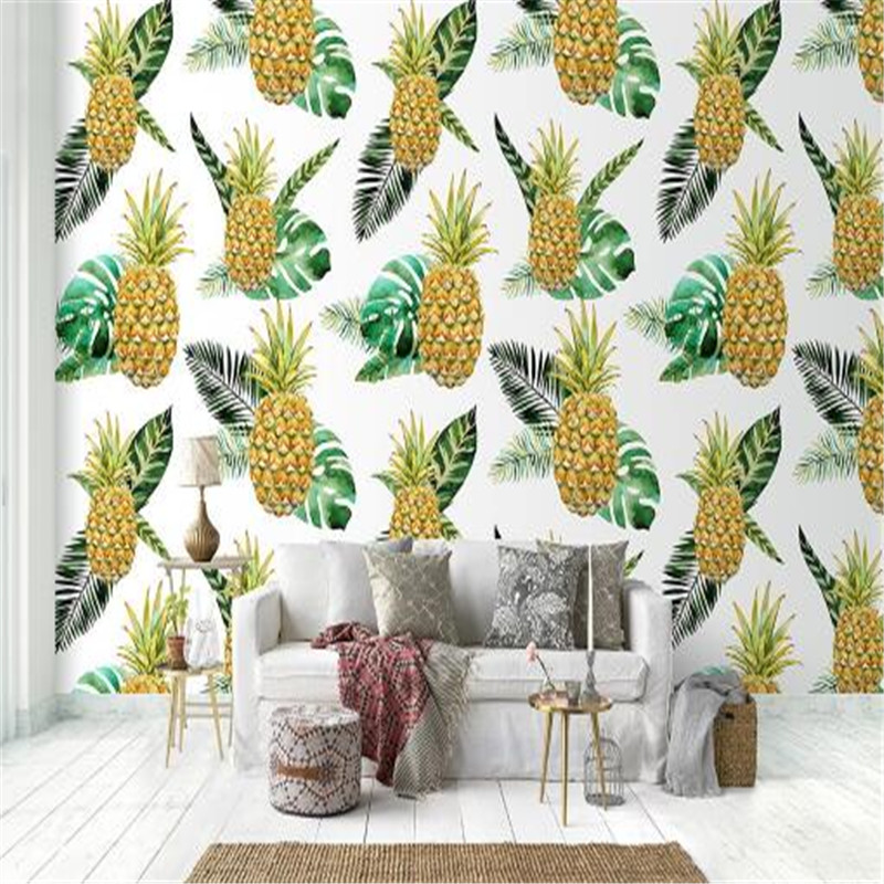 Nordic 3D Wallpapers Murals Living Room Home Decor Custom 3D Murals Wall Papers for Walls 3D Photo Wallpapers Pineapple Leaf japanese style wallpapers for living room 3d flooring wood wall paper pvc living walls wallpapers roll 3d wall murals wallpaper